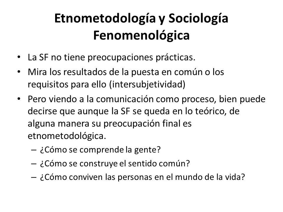 Etnometodología y Sociología Fenomenológica