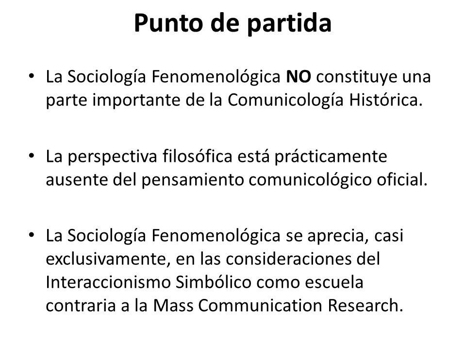 Punto de partida La Sociología Fenomenológica NO constituye una parte importante de la Comunicología Histórica.