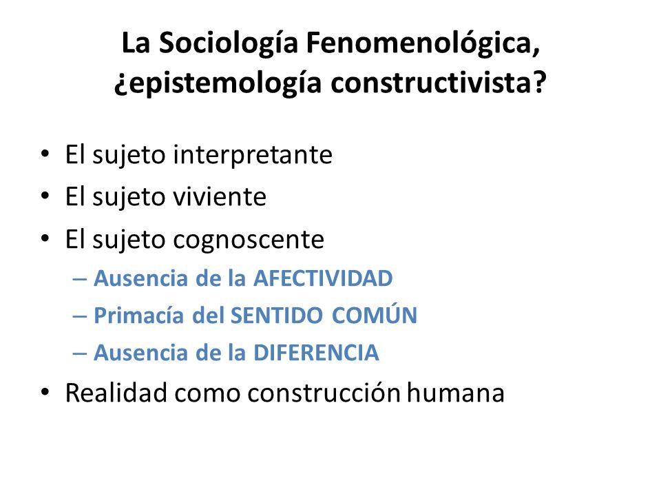 La Sociología Fenomenológica, ¿epistemología constructivista