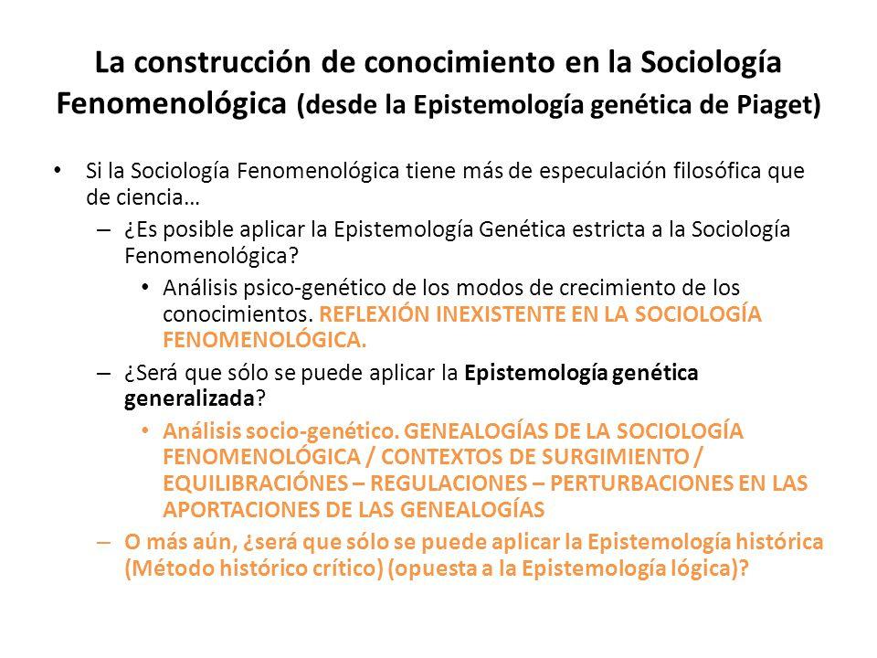 La construcción de conocimiento en la Sociología Fenomenológica (desde la Epistemología genética de Piaget)