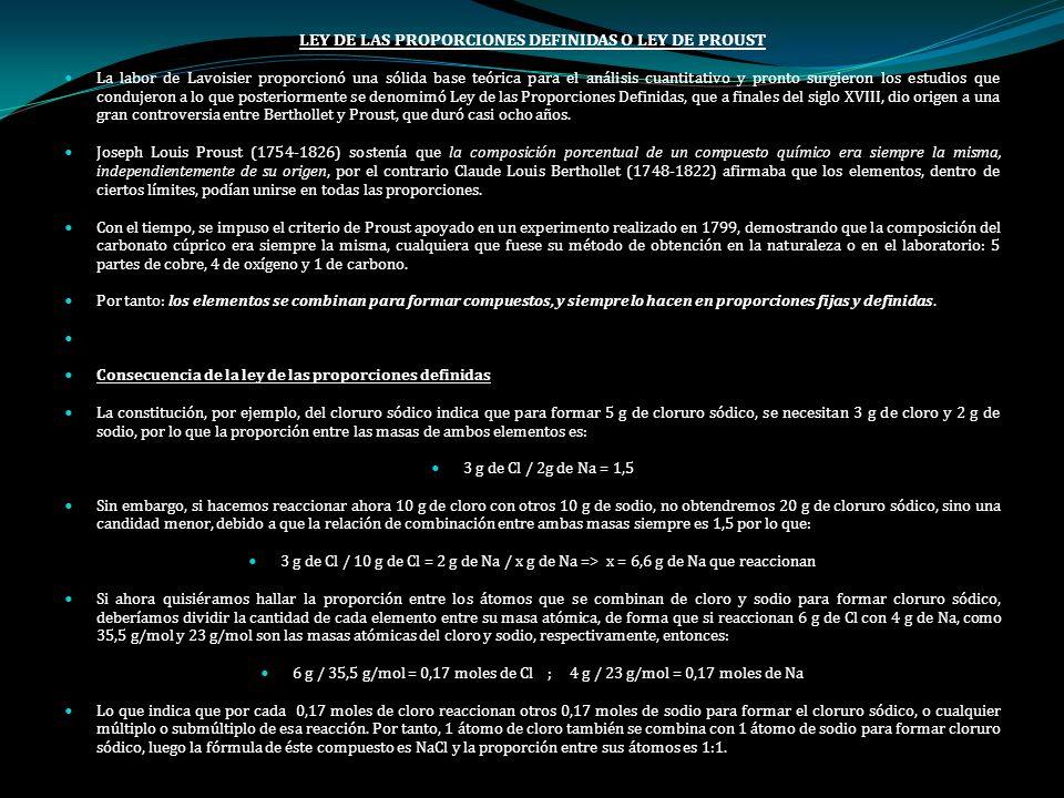 LEY DE LAS PROPORCIONES DEFINIDAS O LEY DE PROUST