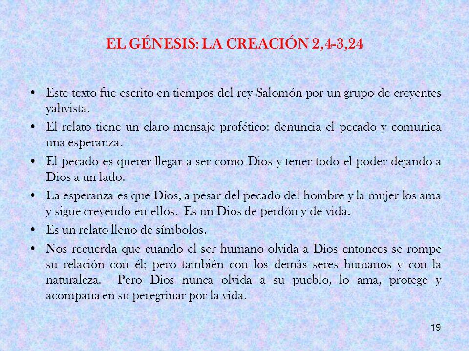 EL GÉNESIS: LA CREACIÓN 2,4-3,24