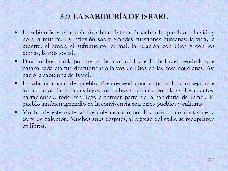 3.9. LA SABIDURÍA DE ISRAEL