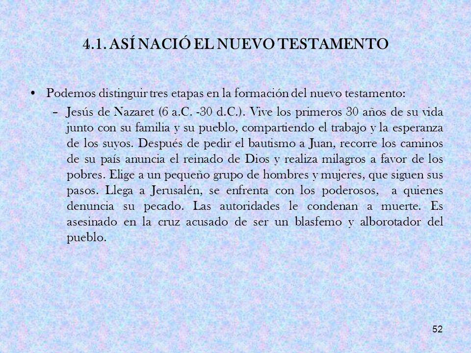 4.1. ASÍ NACIÓ EL NUEVO TESTAMENTO