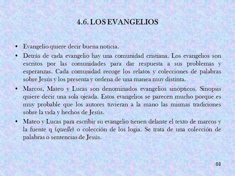 4.6. LOS EVANGELIOS Evangelio quiere decir buena noticia.