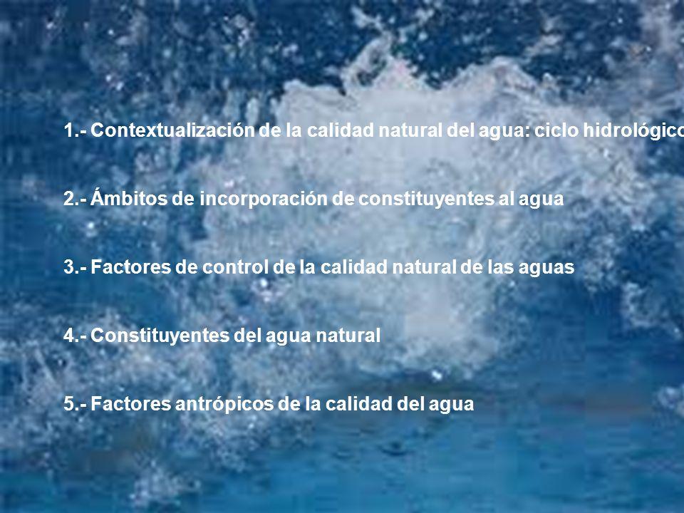 1.- Contextualización de la calidad natural del agua: ciclo hidrológico