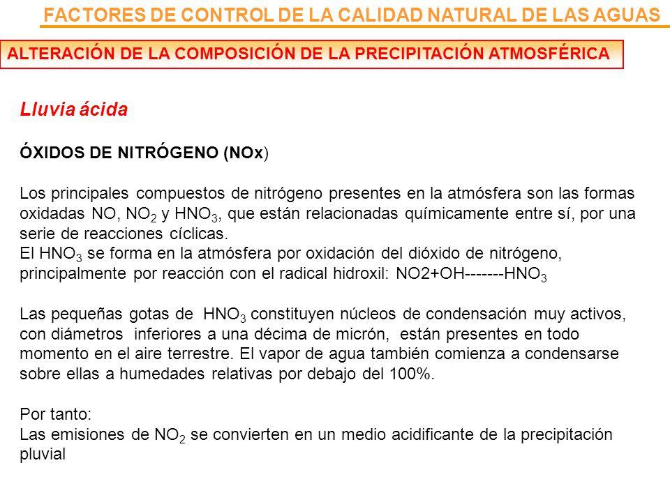 FACTORES DE CONTROL DE LA CALIDAD NATURAL DE LAS AGUAS