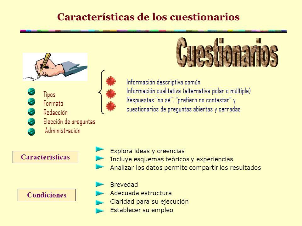 Características de los cuestionarios