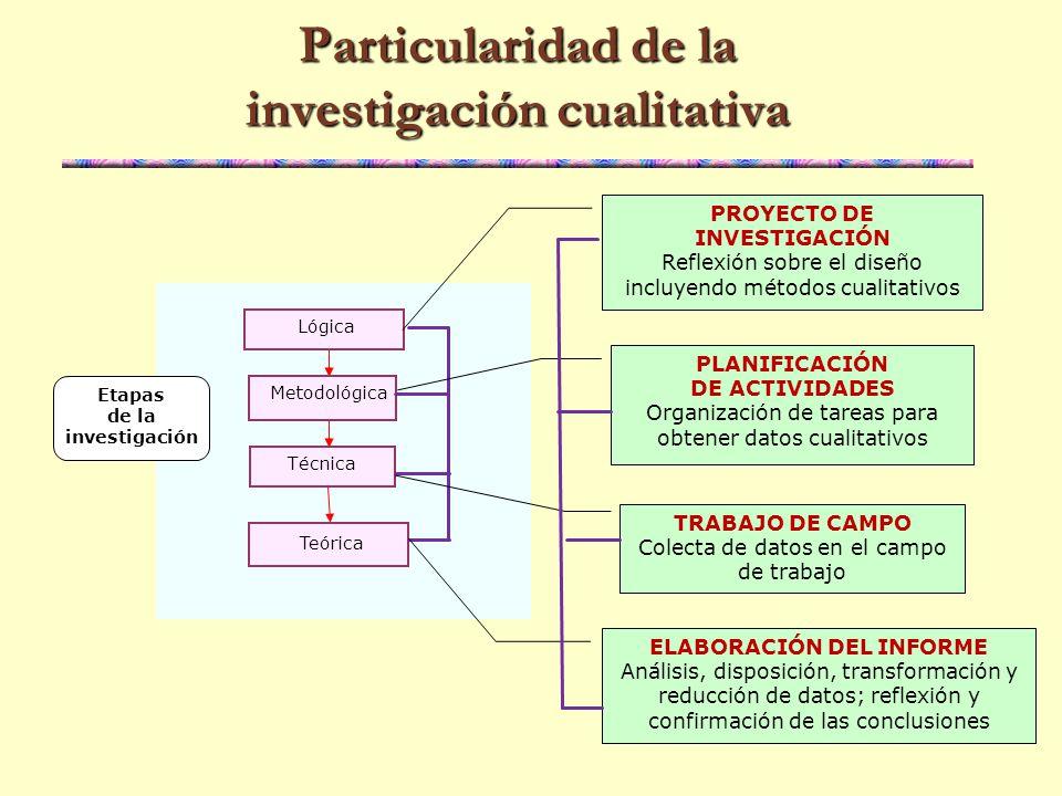 Particularidad de la investigación cualitativa