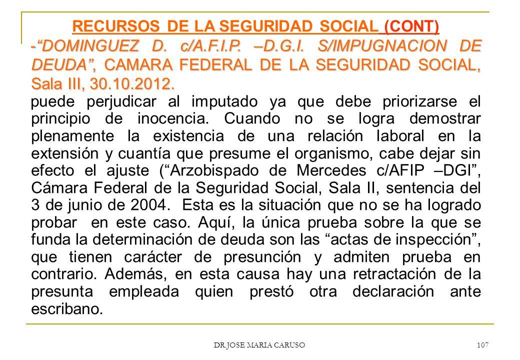 RECURSOS DE LA SEGURIDAD SOCIAL (CONT)