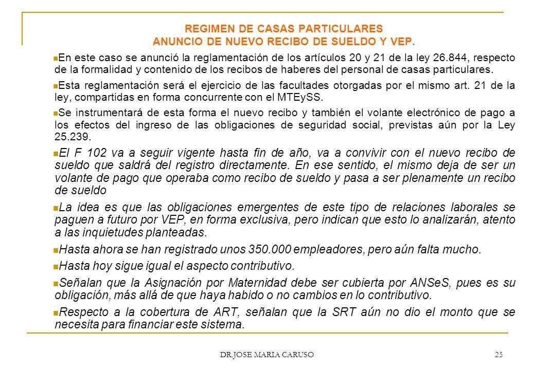 REGIMEN DE CASAS PARTICULARES ANUNCIO DE NUEVO RECIBO DE SUELDO Y VEP.