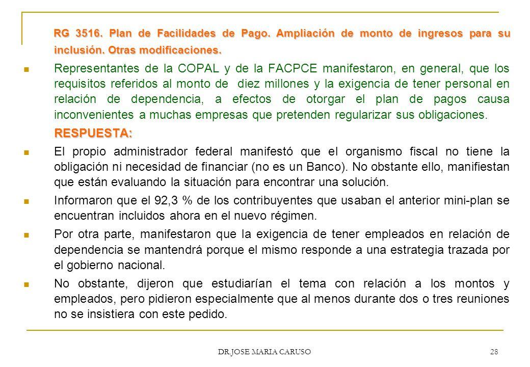 RG 3516. Plan de Facilidades de Pago