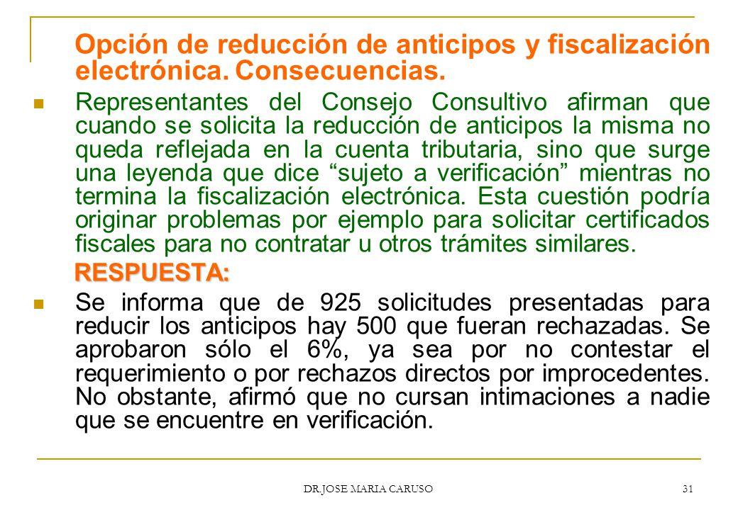 Opción de reducción de anticipos y fiscalización electrónica