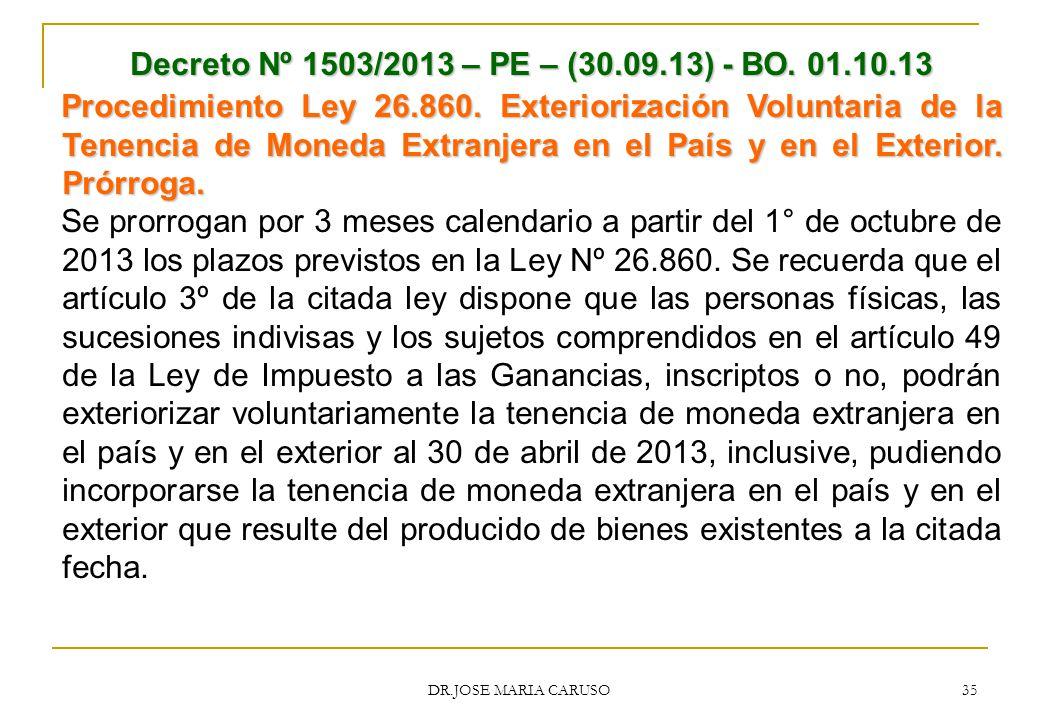 Decreto Nº 1503/2013 – PE – (30.09.13) - BO. 01.10.13