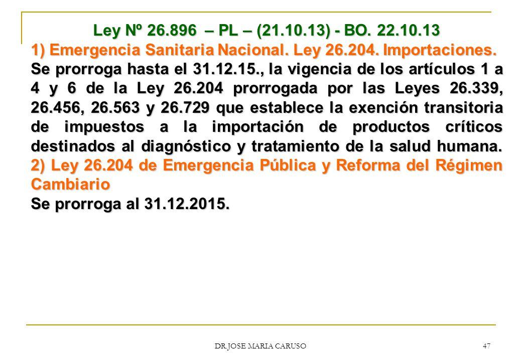 1) Emergencia Sanitaria Nacional. Ley 26.204. Importaciones.