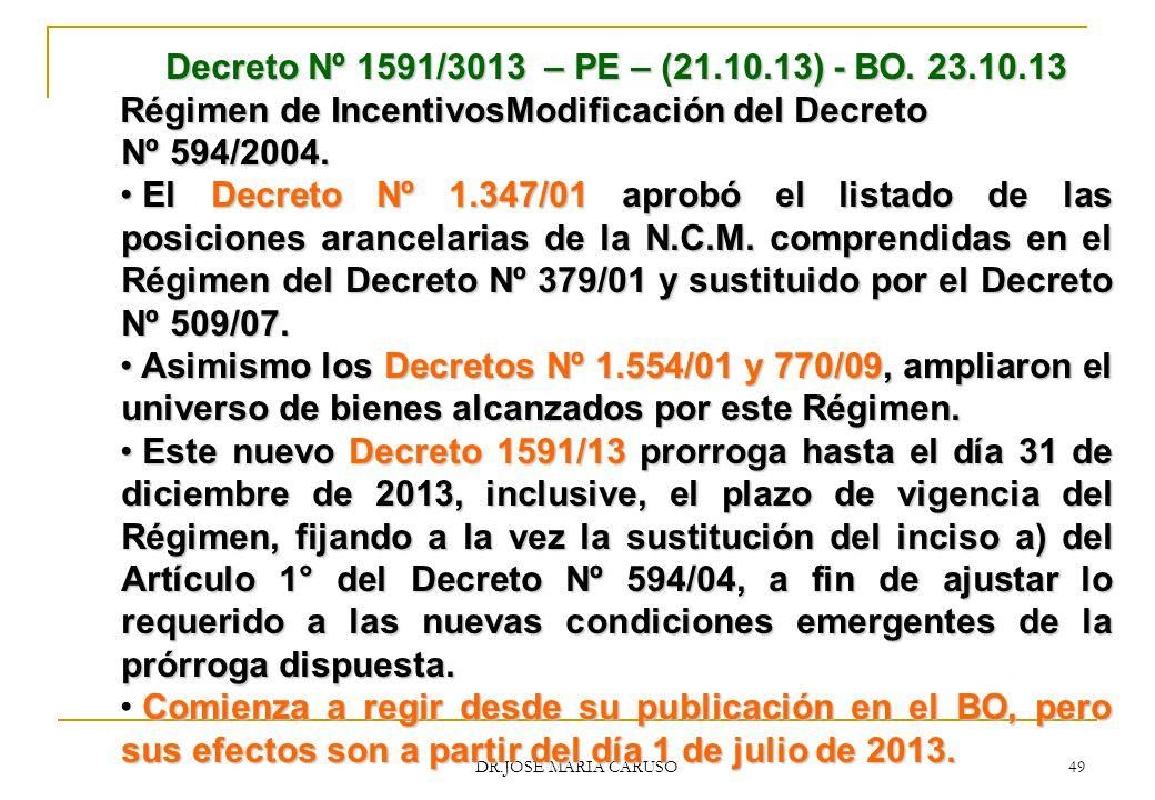 Régimen de IncentivosModificación del Decreto Nº 594/2004.