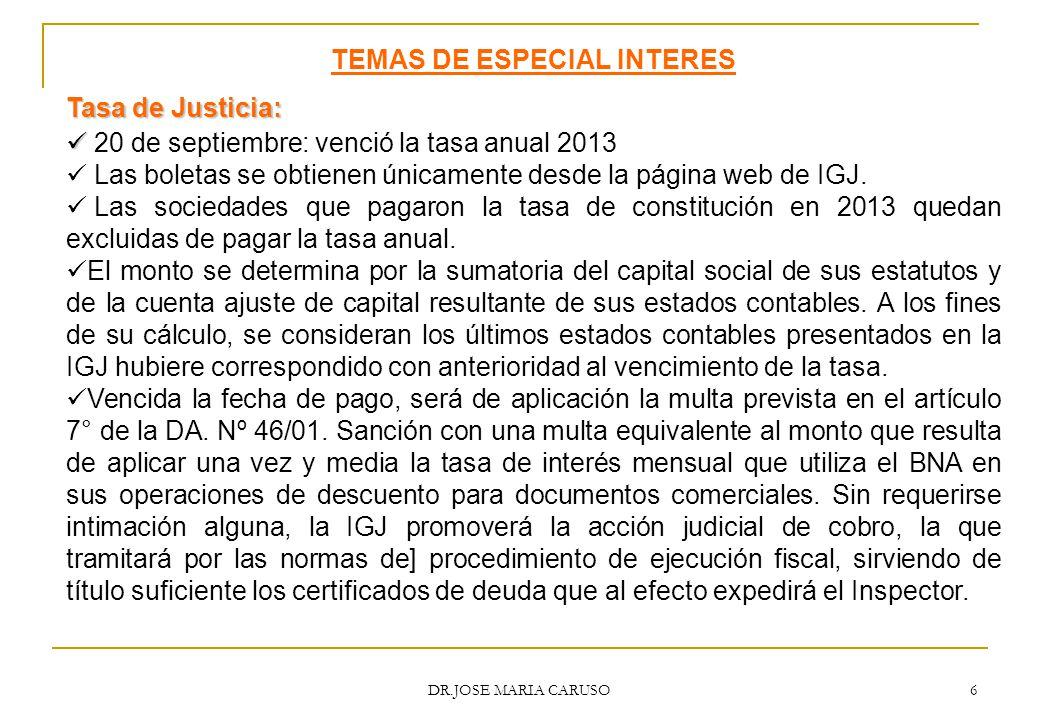 TEMAS DE ESPECIAL INTERES