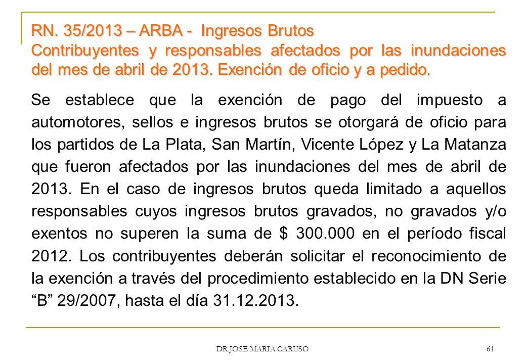 RN. 35/2013 – ARBA - Ingresos Brutos