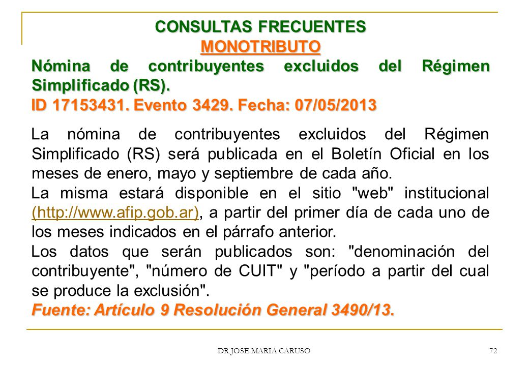 CONSULTAS FRECUENTES MONOTRIBUTO