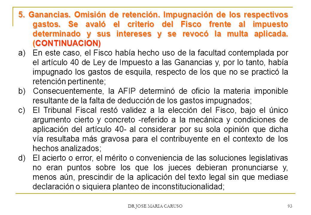 5. Ganancias. Omisión de retención