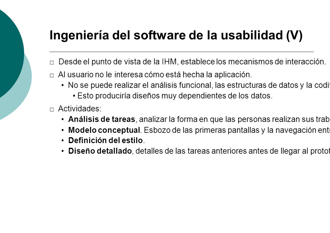 Ingeniería del software de la usabilidad (V)