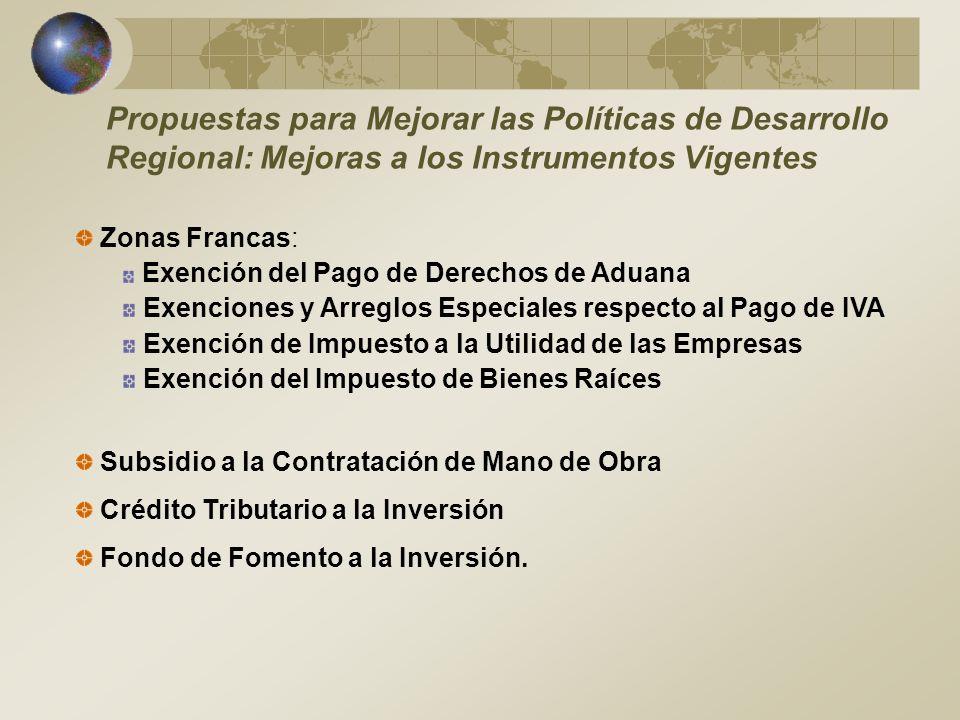 Propuestas para Mejorar las Políticas de Desarrollo Regional: Mejoras a los Instrumentos Vigentes