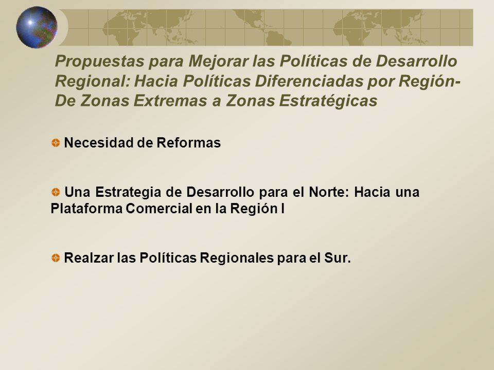 Propuestas para Mejorar las Políticas de Desarrollo Regional: Hacia Políticas Diferenciadas por Región- De Zonas Extremas a Zonas Estratégicas