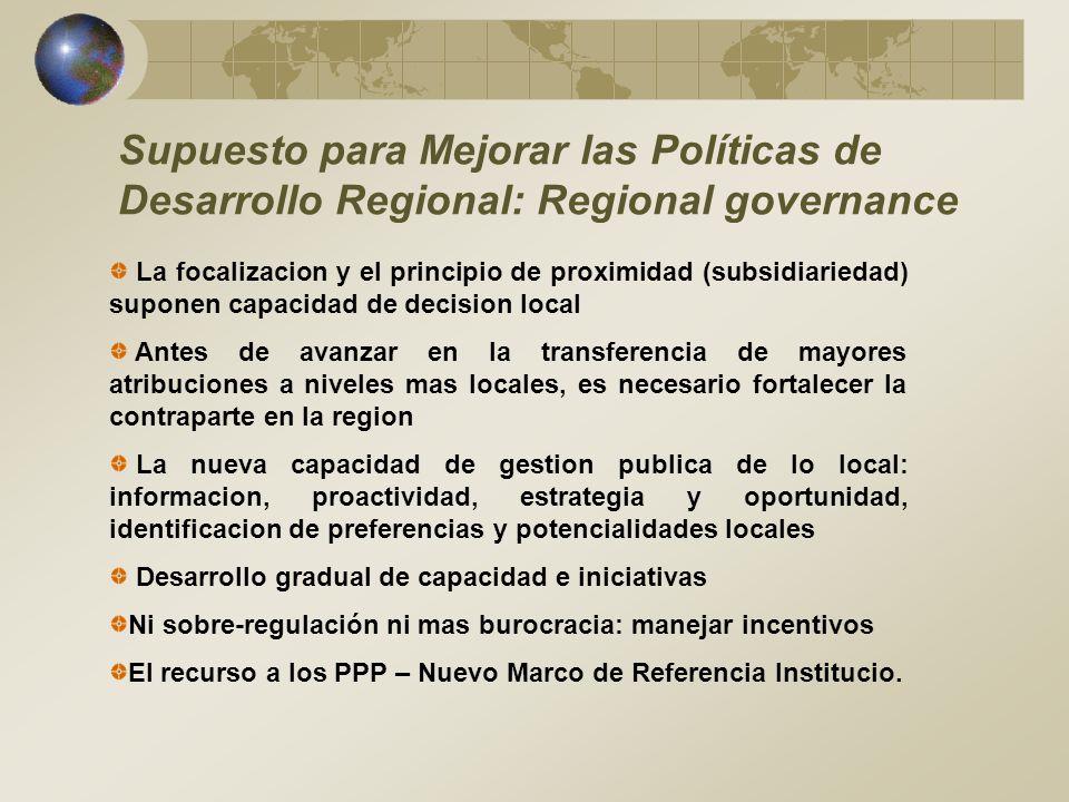 Supuesto para Mejorar las Políticas de Desarrollo Regional: Regional governance