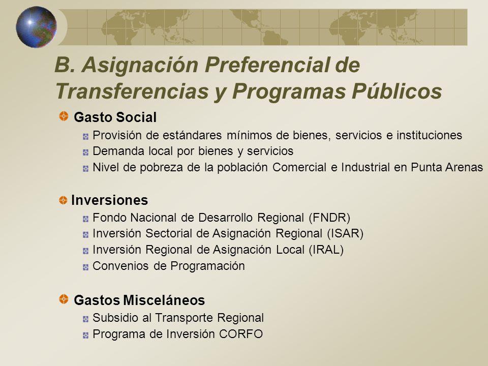 B. Asignación Preferencial de Transferencias y Programas Públicos