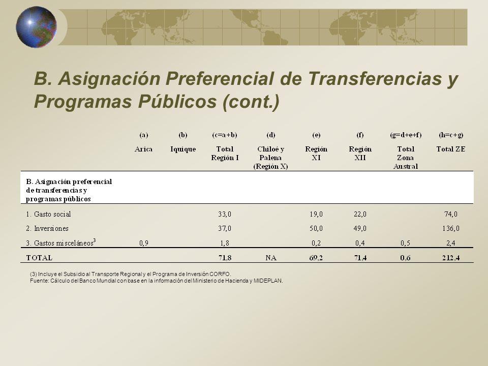 B. Asignación Preferencial de Transferencias y Programas Públicos (cont.)