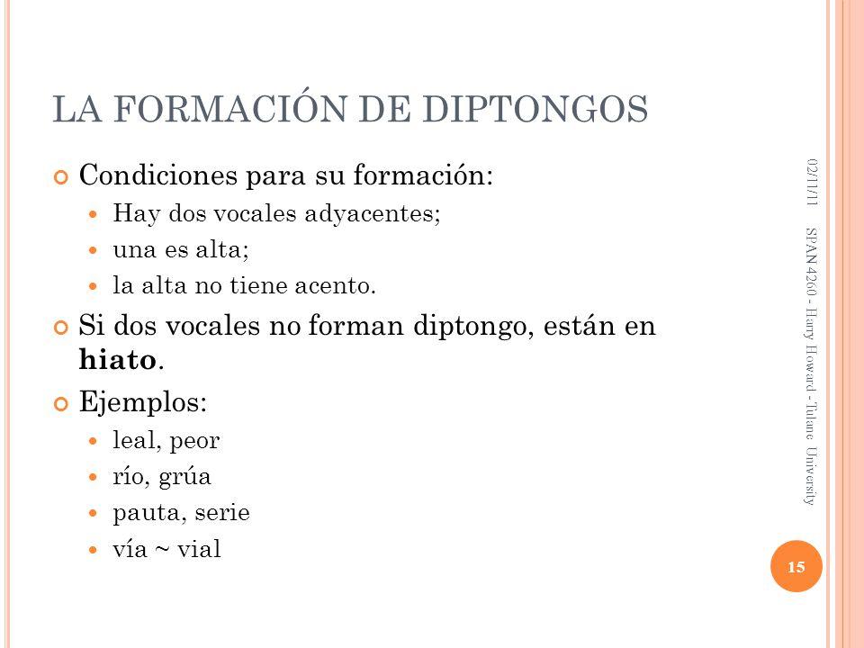LA FORMACIÓN DE DIPTONGOS