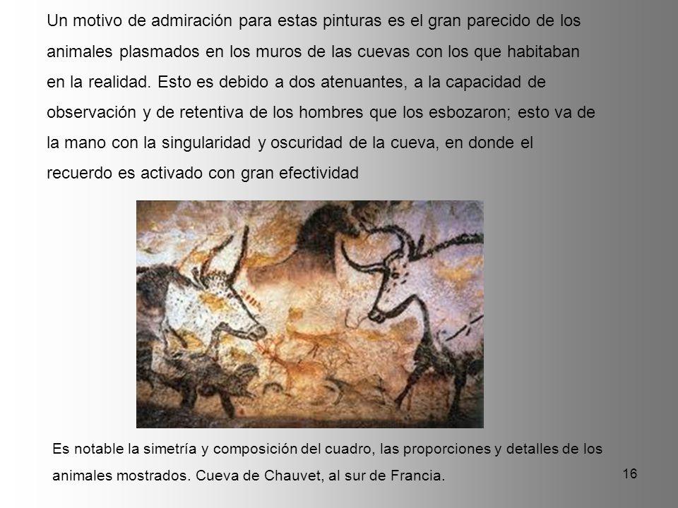 Un motivo de admiración para estas pinturas es el gran parecido de los animales plasmados en los muros de las cuevas con los que habitaban en la realidad. Esto es debido a dos atenuantes, a la capacidad de observación y de retentiva de los hombres que los esbozaron; esto va de la mano con la singularidad y oscuridad de la cueva, en donde el recuerdo es activado con gran efectividad