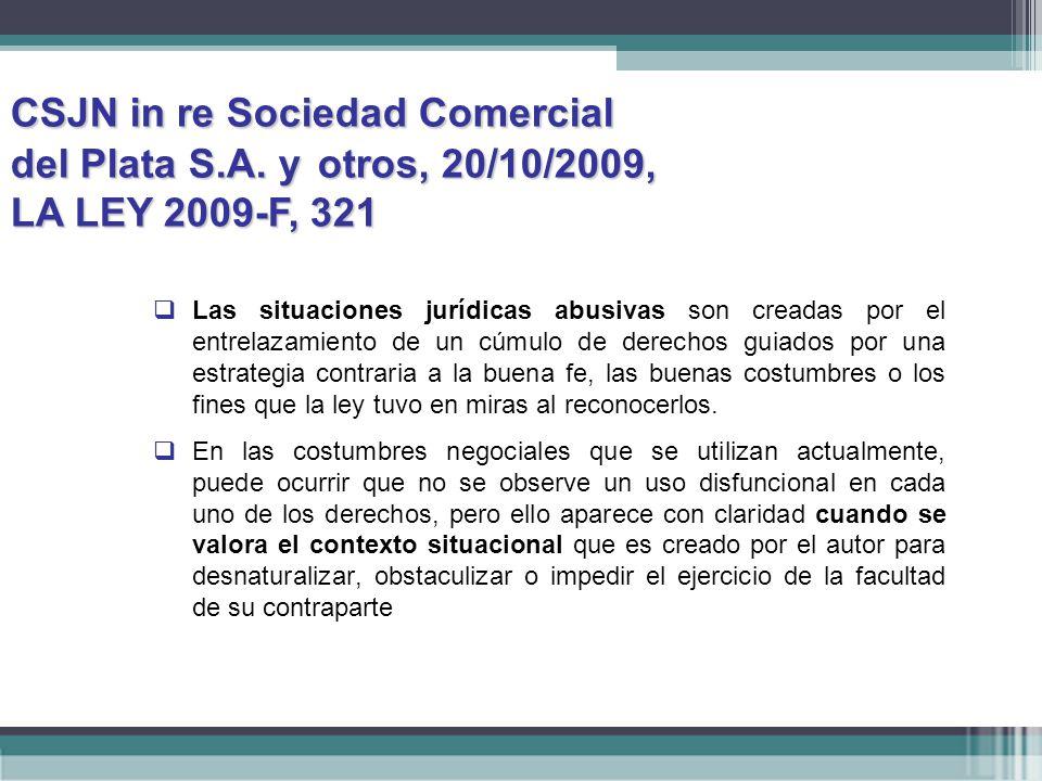 CSJN in re Sociedad Comercial. del Plata S. A. y. otros, 20/10/2009,