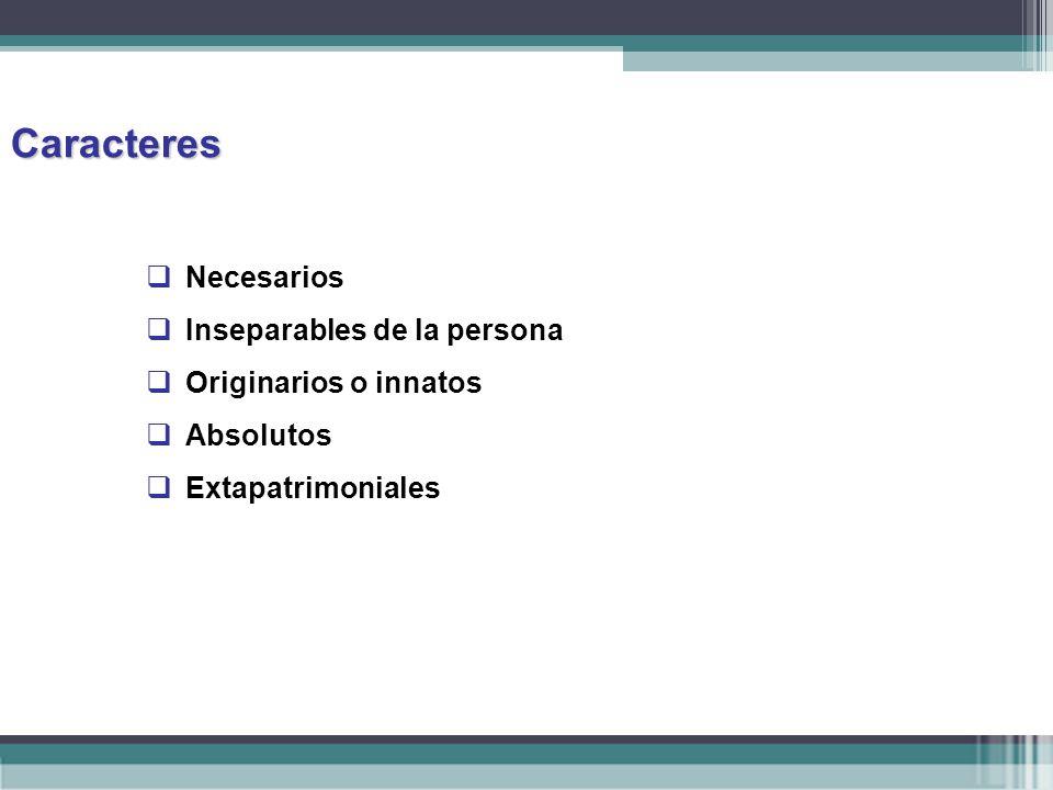 Caracteres Necesarios Inseparables de la persona Originarios o innatos