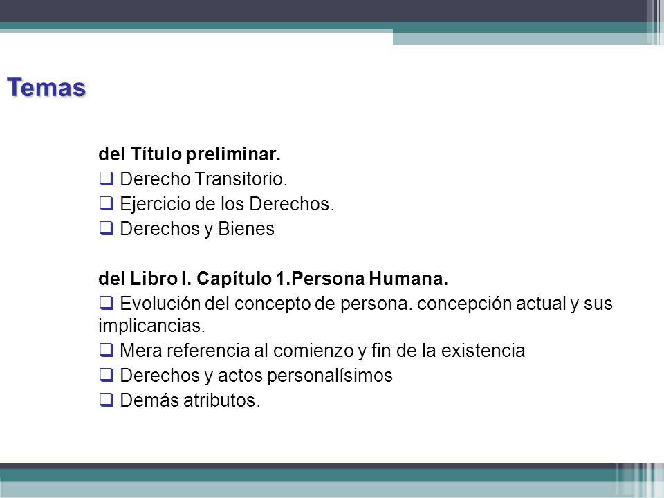 Temas del Título preliminar. Derecho Transitorio.
