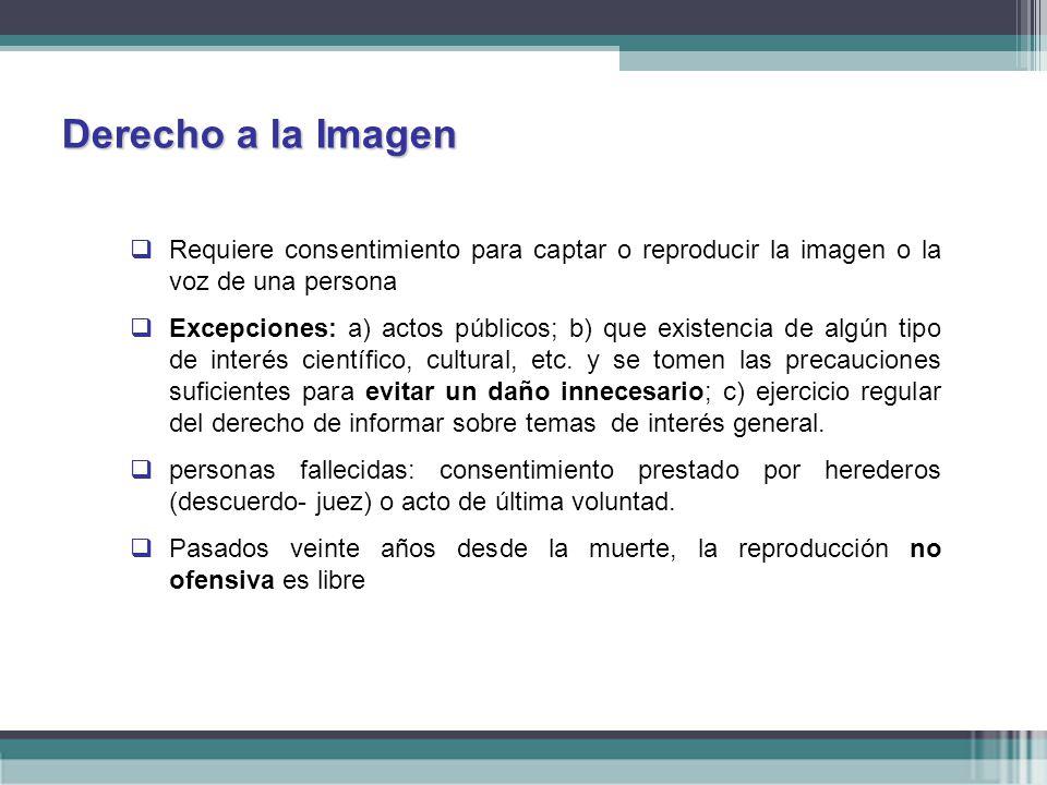 Derecho a la Imagen Requiere consentimiento para captar o reproducir la imagen o la voz de una persona.