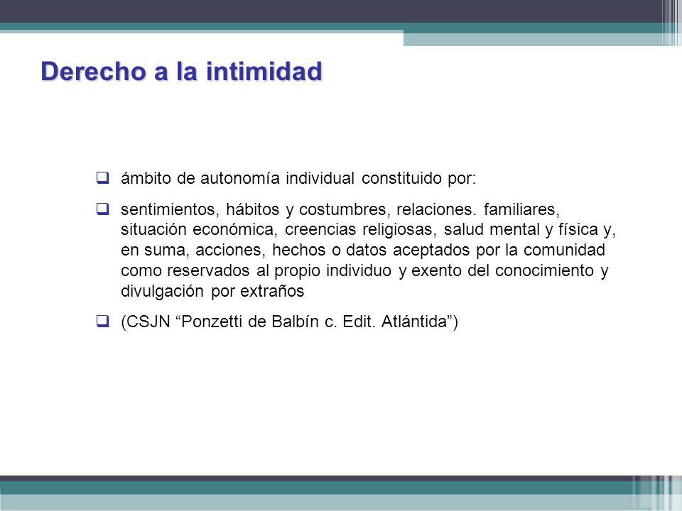 Derecho a la intimidad ámbito de autonomía individual constituido por: