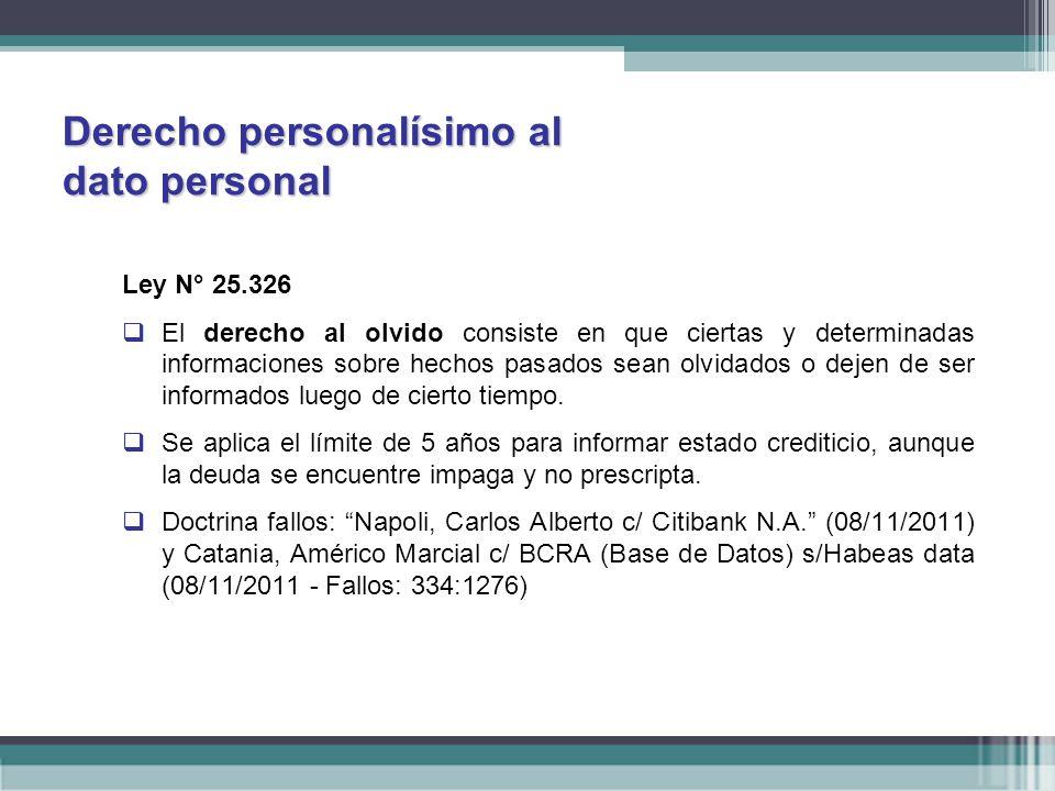 Derecho personalísimo al dato personal