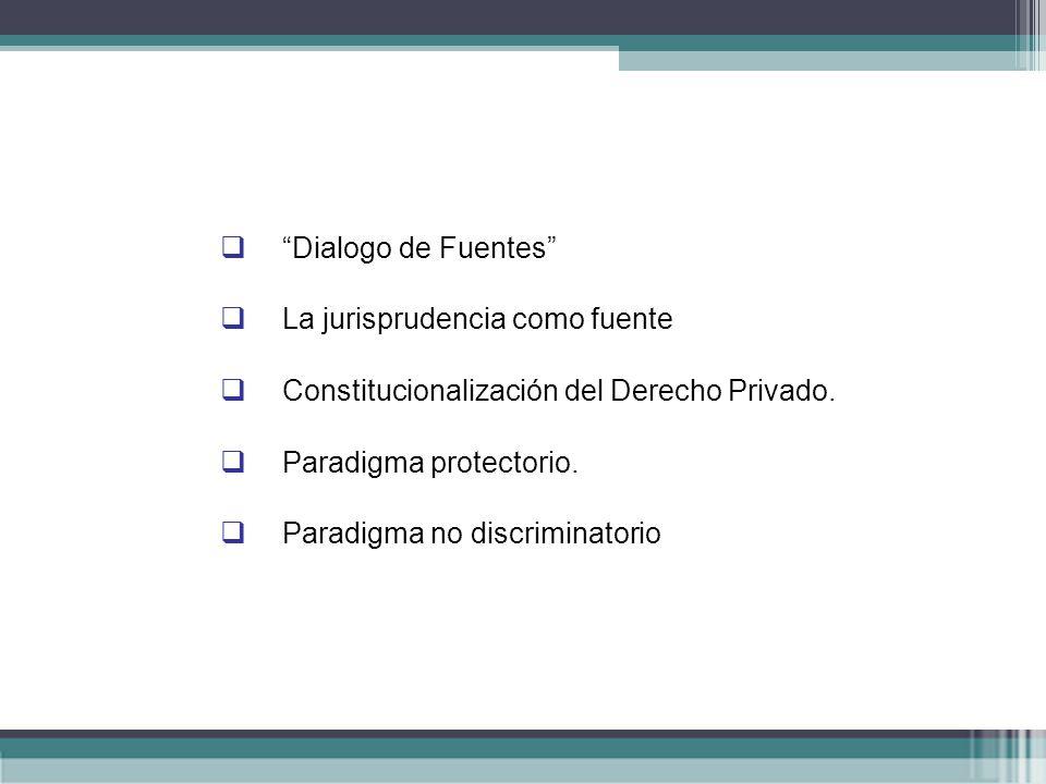 Dialogo de Fuentes La jurisprudencia como fuente. Constitucionalización del Derecho Privado. Paradigma protectorio.