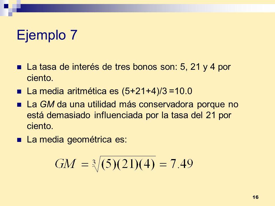 Ejemplo 7 La tasa de interés de tres bonos son: 5, 21 y 4 por ciento.