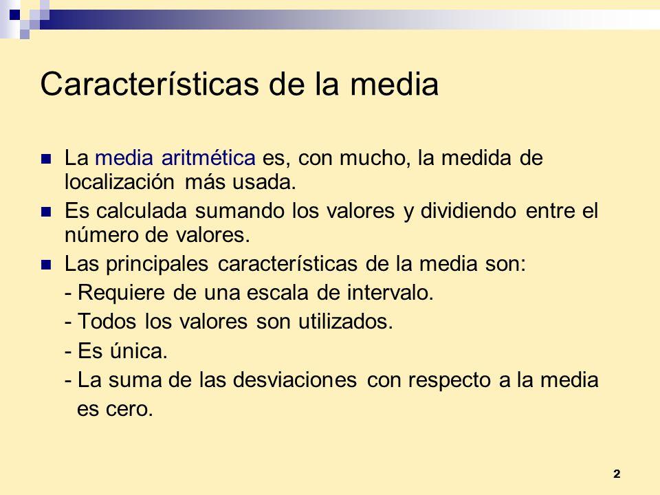 Características de la media