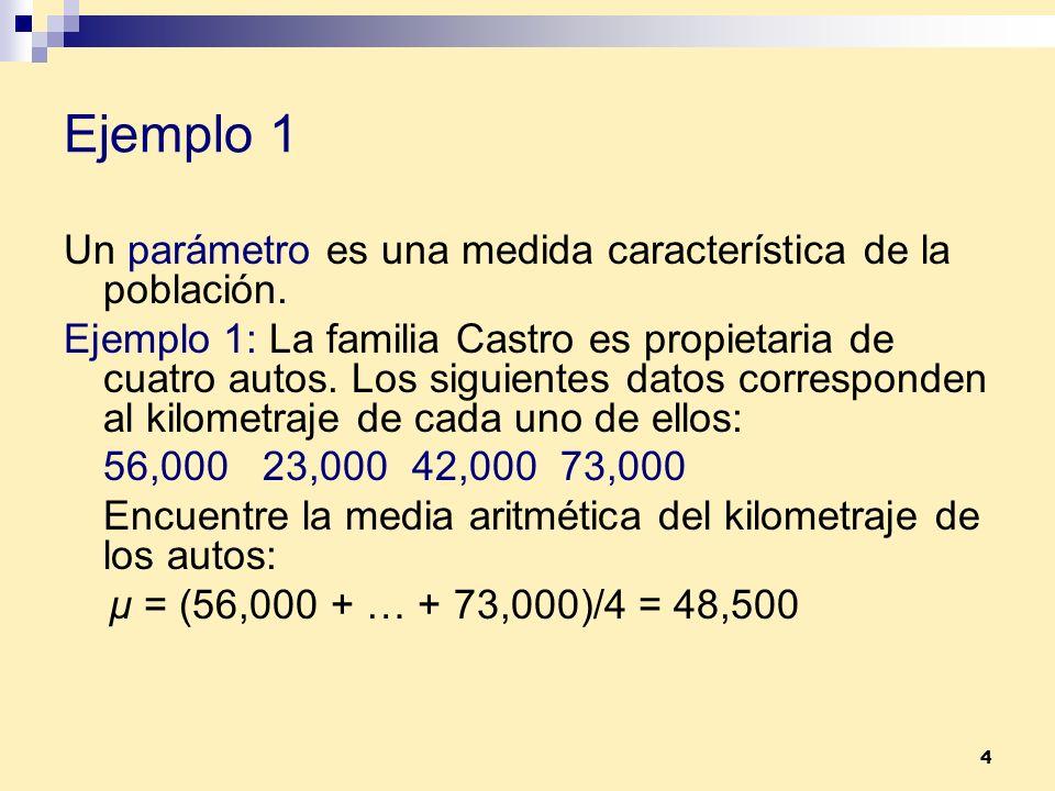 Ejemplo 1 Un parámetro es una medida característica de la población.