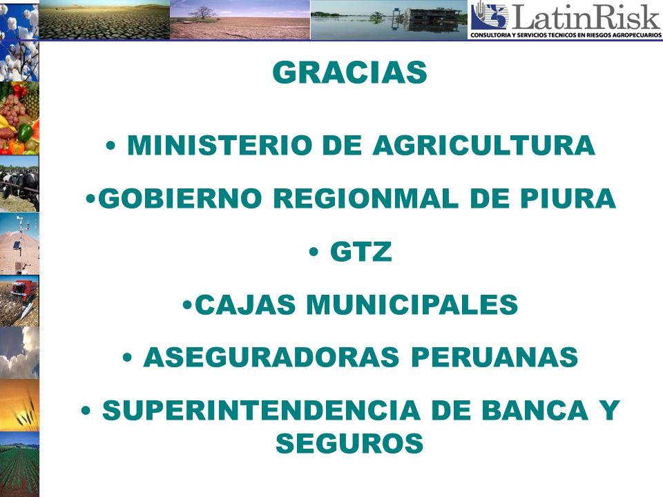 GRACIAS MINISTERIO DE AGRICULTURA GOBIERNO REGIONMAL DE PIURA GTZ
