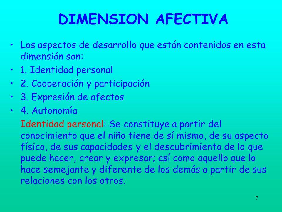 DIMENSION AFECTIVA Los aspectos de desarrollo que están contenidos en esta dimensión son: 1. Identidad personal.