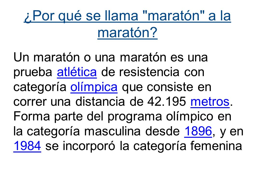 ¿Por qué se llama maratón a la maratón