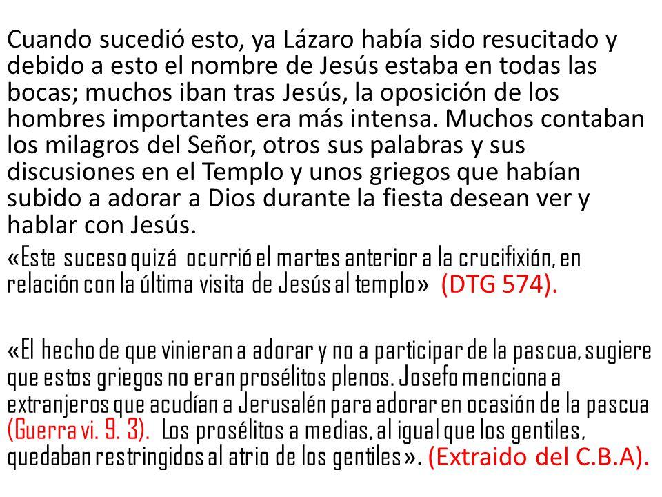 Cuando sucedió esto, ya Lázaro había sido resucitado y debido a esto el nombre de Jesús estaba en todas las bocas; muchos iban tras Jesús, la oposición de los hombres importantes era más intensa.