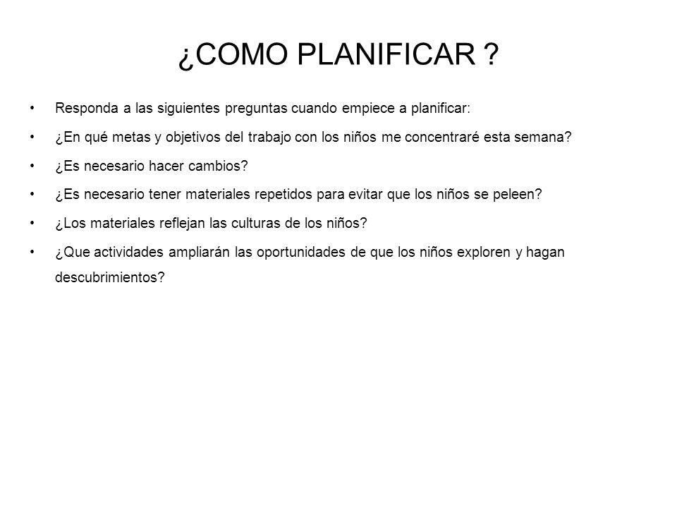 ¿COMO PLANIFICAR Responda a las siguientes preguntas cuando empiece a planificar: