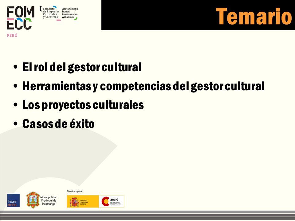 Temario El rol del gestor cultural