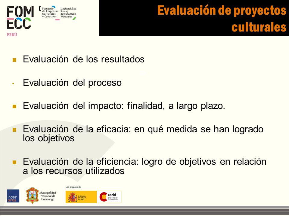 Evaluación de proyectos culturales