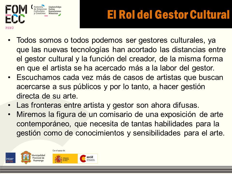 El Rol del Gestor Cultural